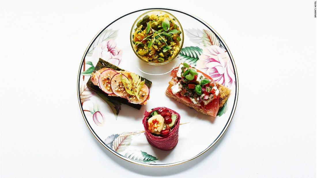"<strong>Brown's Hotel: </strong>London's first-ever hotel offers a healthy option of ""tea-tox"" which includes detox juice, gluten-free desserts and the likes of miso-glazed salmon with radish on spinach bread to replace starchy scones and finger sandwiches."