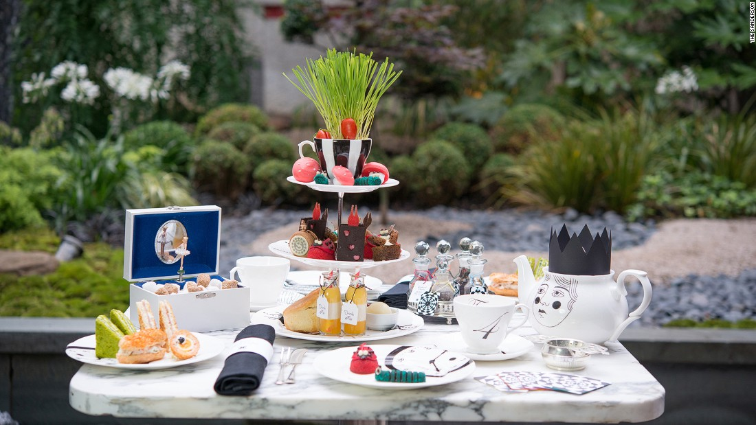 "<strong>Mad Hatter's Tea, Sanderson: </strong>Macaroons guised as pocket watches, tea selections inspired by ""Alice"" characters and a menu hidden inside an old vintage book -- some of the whimsical designs guests can expect from Sanderson Hotel's Alice in Wonderland-themed afternoon tea."