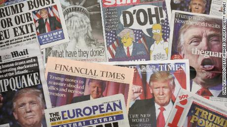 LONDON, ENGLAND - NOVEMBER 10:  British newspapers show U.S. Republican candidate and President Elect Donald Trump on their front pages the day after Trump was announced the winner in U.S. presidential elections on November 9, 2016 in London, England. The American public have voted for the Republican candidate Donald Trump to be the 45th President of the United States. After 46 of the 50 States declared he had 278 of the 538 electoral college votes and Hillary Clinton conceded defeat in a telephone call.  British Prime Minister Theresa May congratulated Trump releasing a statement promising to work with him to build on the special relationship between the UK and the USA.  (Photo Illustration by Dan Kitwood/Getty Images)