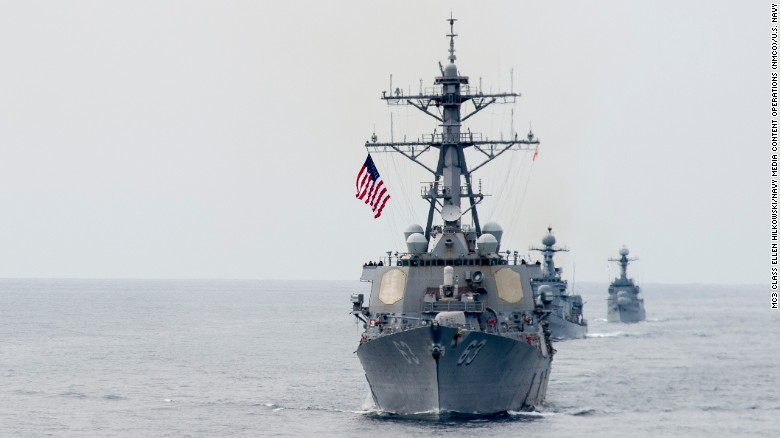 The Aegis-equipped guided-missile destroyer USS Stethem sails in formation as part of an exercise off South Korea in 2016.
