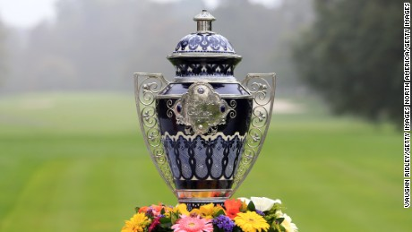 MEXICO CITY, MEXICO - NOVEMBER 13:  Tournament trophy during the final round of the Citibanamex Lorena Ochoa Invitational Presented By Aeromexico and Delta at Club de Golf Mexico on November 13, 2016 in Mexico City, Mexico.  (Photo by Vaughn Ridley/Getty Images)