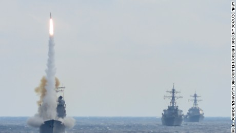 USS Monterey launches an interceptor missile during a live-fire test of the Aegis weapons systems.