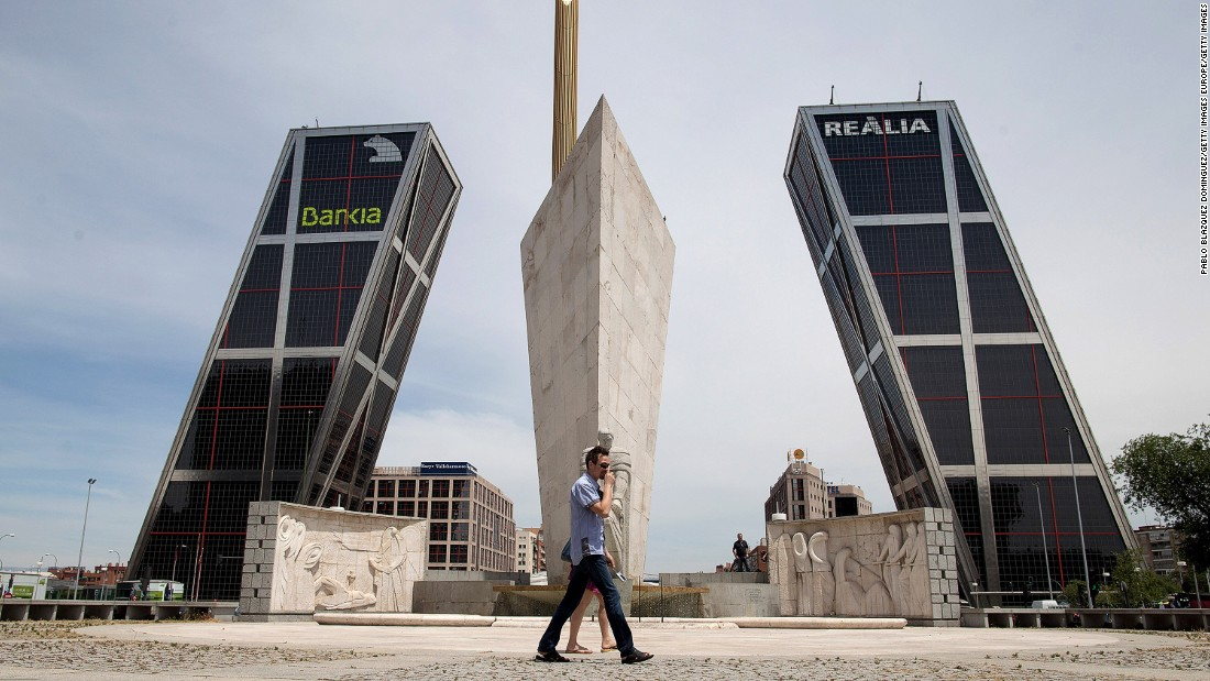 "Also know as the ""Gate of Europe,"" these twin office towers designed by American architects Philip Johnson and John Burgee <a href=""http://skyscrapercenter.com/madrid/puerta-de-europa/4887"" target=""_blank"">rise 373 feet (114 meters) into the sky at an angle of 15 degrees</a>."
