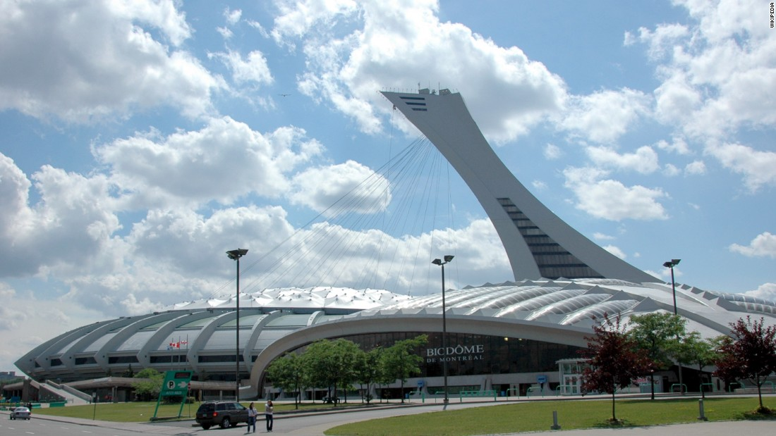 "Constructed for the 1976 Summer Olympic Games, the 541 foot (165 meter) <a href=""http://parcolympique.qc.ca/en/the-park/the-montreal-tower/"" target=""_blank"">Tower</a> that sits atop the <a href=""http://parcolympique.qc.ca/en/the-park/olympic-stadium/"" target=""_blank"">Montreal Olympic Stadium</a> has an intentional 45-degree lean. Designed by French architect Roger Taillibert, it is the tallest man-made leaning tower in the world, according to <a href=""http://www.guinnessworldrecords.com/world-records/tallest-manmade-leaning-tower"" target=""_blank"">Guiness World Records</a>."