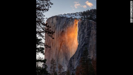 The 'firefall' illuminates Horsetail Fall in Yosemite National Park.