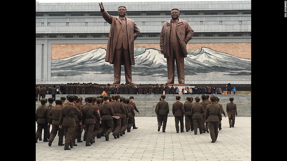 Soldiers pay respects to former North Korean leaders on Wednesday, February 15. The site is considered one of the most sacred in Pyongyang.