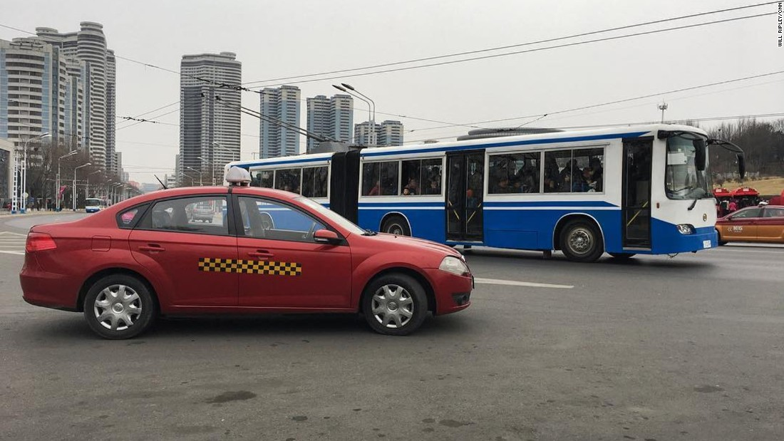 Taxis are becoming more prevalent on the streets of Pyongyang. Most commuters still ride buses.