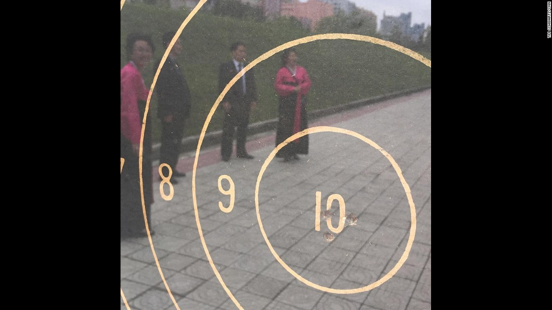"Tour guides told CNN's crew that ""in 1948, Kim Il Sung, his wife and his then 7-year-old son, Kim Jong Il, test fired North Korea's first domestically manufactured submachine gun,"" <a href=""https://www.instagram.com/p/BFItQnuBqFl/"" target=""_blank"">Tim Schwartz said on Instagram.</a> The guides said that all three shot bullseyes at 50 meters."