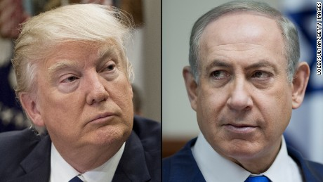 LEFT:  US President Donald Trump speaks during a meeting with teachers, school administrators and parents in the Roosevelt Room of the White House in Washington, DC, February 14, 2017. / AFP / SAUL LOEB        (Photo credit should read SAUL LOEB/AFP/Getty Images)  RIGHT:  Israeli Prime Minister Benjamin Netanyahu attends the weekly cabinet meeting at his office in Jerusalem, January 8, 2017 . / AFP / POOL / ABIR SULTAN        (Photo credit should read ABIR SULTAN/AFP/Getty Images)