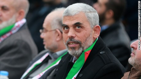 KHAN YOUNIS, PALESTINIAN TERRITORIES - 2016/01/09: Hamas leader Yehya al-Sinwar with his son during the festival Hamas in Khan Younis in the southern Gaza Strip. (Photo by Ramadan El-Agha/Pacific Press/LightRocket via Getty Images)