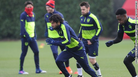 ST ALBANS, ENGLAND - FEBRUARY 14:  Mohamed Elneny of Arsenal during the Arsenal Training Session at London Colney on February 14, 2017 in St Albans, England.  (Photo by David Price/Arsenal FC via Getty Images)