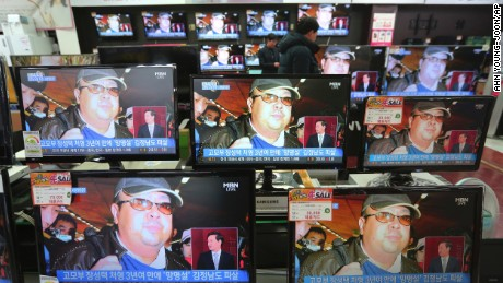 TV screens show pictures of Kim Jong Nam, the half-brother of North Korean leader Kim Jong Un, at the Yongsan Electronic store in Seoul, South Korea, Wednesday, Feb. 15, 2017. Kim was assassinated at an airport in Kuala Lumpur, telling medical workers before he died that he had been attacked with a chemical spray a Malaysian official said Tuesday. (AP Photo/Ahn Young-joon)
