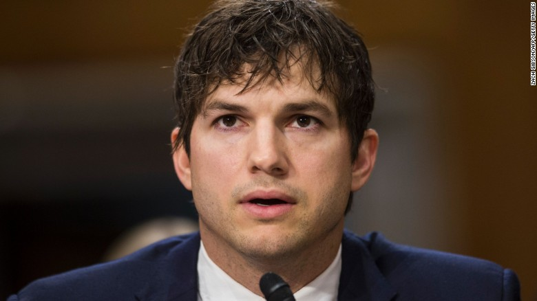 "Ashton Kutchner testifies at a Senate Foreign Relations Committee, examining ""Ending Modern Slavery: Building on Success,"" on Capitol Hill on February 15, 2017 in Washington, DC."