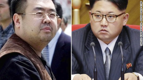 FILE - This combination of file photos shows Kim Jong Nam, left, exiled half-brother of North Korea's leader Kim Jong Un, in Narita, Japan, on May 4, 2001, and North Korean leader Kim Jong Un on May 9, 2016, in Pyongyang, North Korea. Kim Jong Nam, 46, was targeted Monday, Feb. 14, 2017, in a shopping concourse at Kuala Lumpur International Airport, Malaysia, and died on the way to the hospital, according to a Malaysian government official. (AP Photos/Shizuo Kambayashi, Wong Maye-E, File)