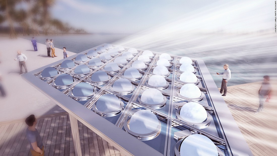 A computer-controlled canopy that couples the cooling of outdoor areas with solar power generation was unveiled in Dubai in February.