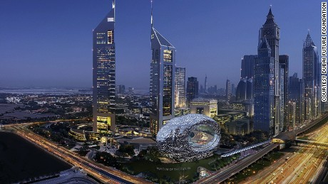An artist's impression of Dubai's new Museum of the Future, built inside an oval-shaped glass structure