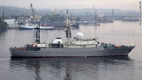 Russian warship Viktor Leonov enters the bay in Havana, Cuba, Tuesday, March 24, 2015. The Russian warship, one of the fleet's Vishnya-class ships generally used for intelligence gathering, was docked in the harbor coinciding with a visit to Cuba by Russia's Foreign Minister Sergei Lavrov.