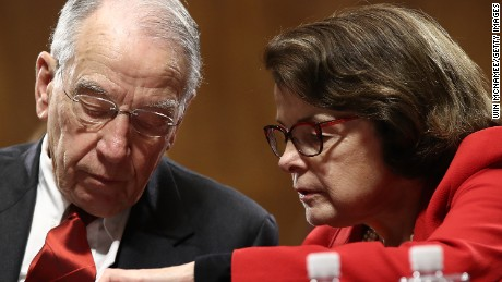 Committee Chairman Sen. Chuck Grassley (R-IA) confers with ranking member Sen. Dianne Feinstein (D-CA) during the Senate Judiciary Committee's 'markup' on the nomination of Sen. Jeff Sessions to be the next Attorney General of the U.S. January 31, 2017 in Washington, DC.