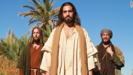 Midshot of Jesus, Peter and Thomas, posed  CNN Finding Jesus 2, Episode 206, Doubting Thomas