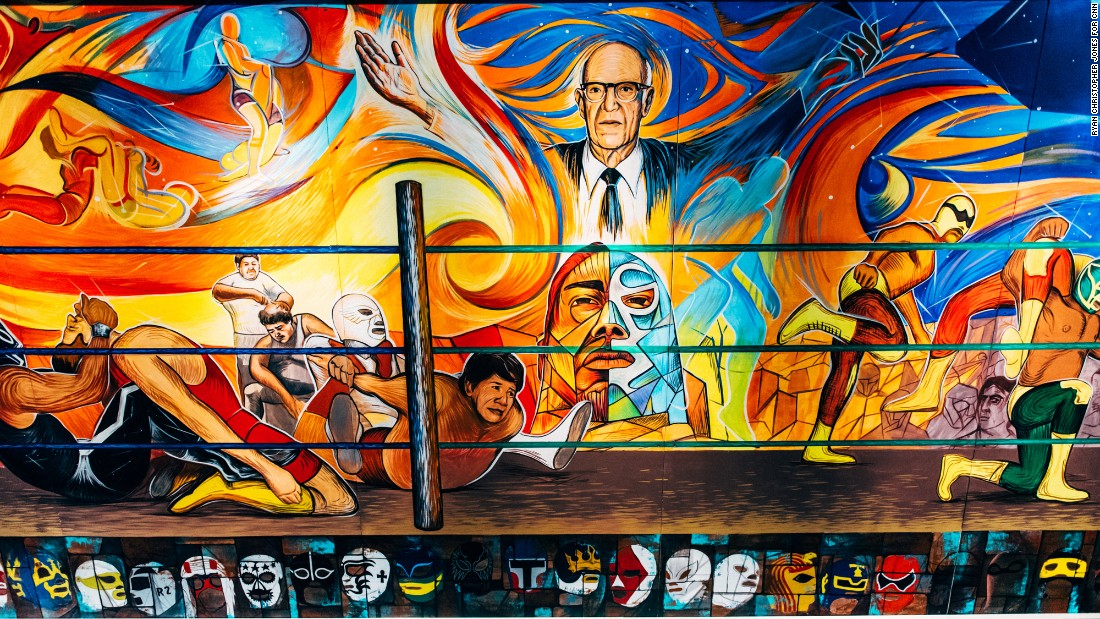 A mural decorates the ceiling of the Arena Mexico on Sunday, February 12, 2017. The Mexico City venue has hosted Lucha Libre fights since the mid-1950s.