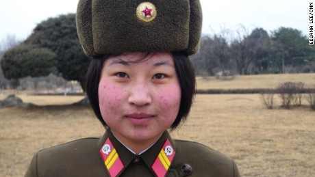 """North Korea female soldier stands guard. While military service for women has long been voluntary, it was reportedly made mandtatory in a bid to bolster the armed forces"" Posted by Will Ripley to Instagram. Photo credit: Ellana Lee February 16, 2017."