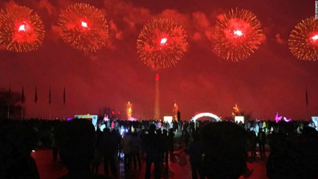 North Korean soldiers watch fireworks on February 16, in Pyongyang.