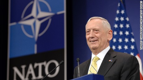 "US Secretary of Defence James Mattis delivers a speech during a press conference following the NATO Defence Ministers' meeting at NATO headquarter in Brussels, on February 16, 2017. The US military is not yet ready to cooperate with Russia, Pentagon chief James Mattis said on February 16, 2017 after Moscow's defence minister called for better ties. ""We are not in a position right now to collaborate on a military level, but our political leaders will engage and try to find common ground or a way forward,"" Mattis told reporters at a NATO summit in Brussels.  / AFP / THIERRY CHARLIER        (Photo credit should read THIERRY CHARLIER/AFP/Getty Images)"