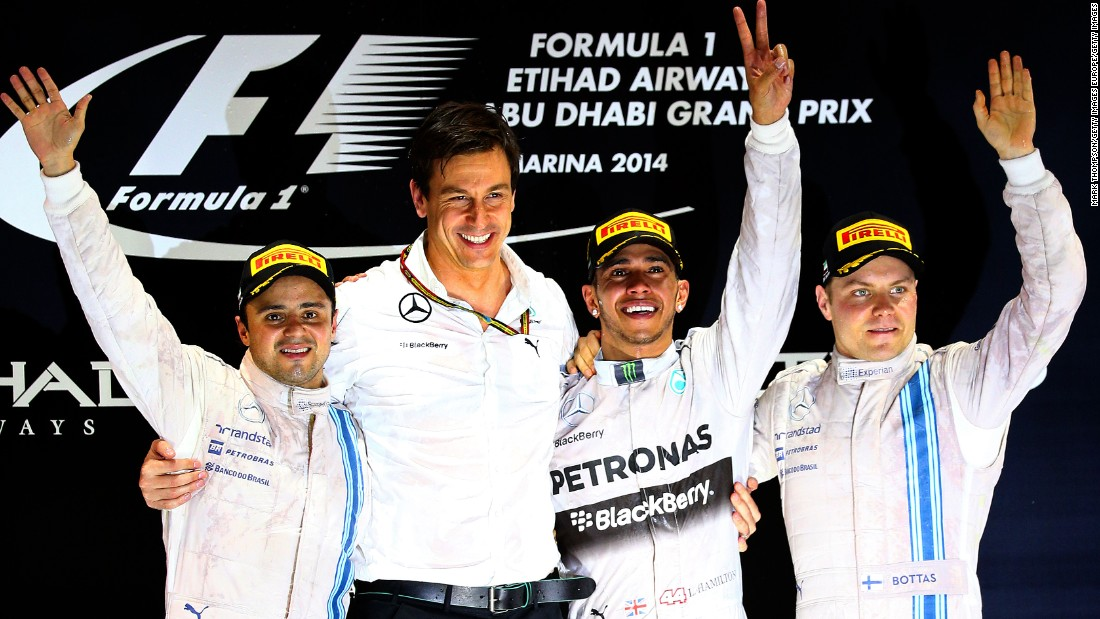 Bottas on the podium at the Abu Dhabi Grand Prix in 2014 with then teammate Massa (far left) and his future boss, Toto Wolff (second from left) and three-time world champion Lewis Hamilton.