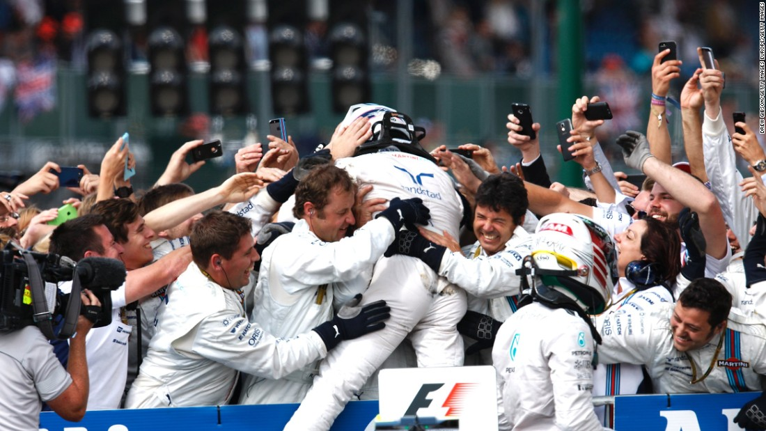 And a fortnight later he went one better to finish second in the British Grand Prix at Silverstone, where he was mobbed by his Williams team.