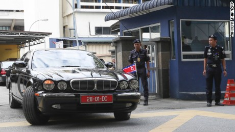 The car of ambassador of North Korea to Malaysia leaves the forensic department at the hospital in Kuala Lumpur, Malaysia on Wednesday, Feb. 15.