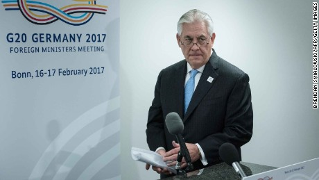 "US Secretary of State Rex Tillerson arrives to make a statement about a meeting with Russia's Foreign Minister at the World Conference Center February 16, 2017 in Bonn, western Germany. US Secretary of State Rex Tillerson makes his diplomatic debut at a G20 gathering in Germany on February 16, 2017 where his counterparts hope to find out what ""America First"" means for the rest of the world. / AFP / Brendan Smialowski        (Photo credit should read BRENDAN SMIALOWSKI/AFP/Getty Images)"