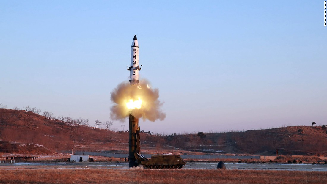 "This photo, released by North Korea's state-run news agency, shows <a href=""http://www.cnn.com/2017/02/11/asia/north-korea-missile/index.html"" target=""_blank"">the test-firing of a new ballistic missile</a> on Sunday, February 12. A US official said the missile traveled 500 kilometers (310 miles) before landing in the Sea of Japan, also known as the East Sea."