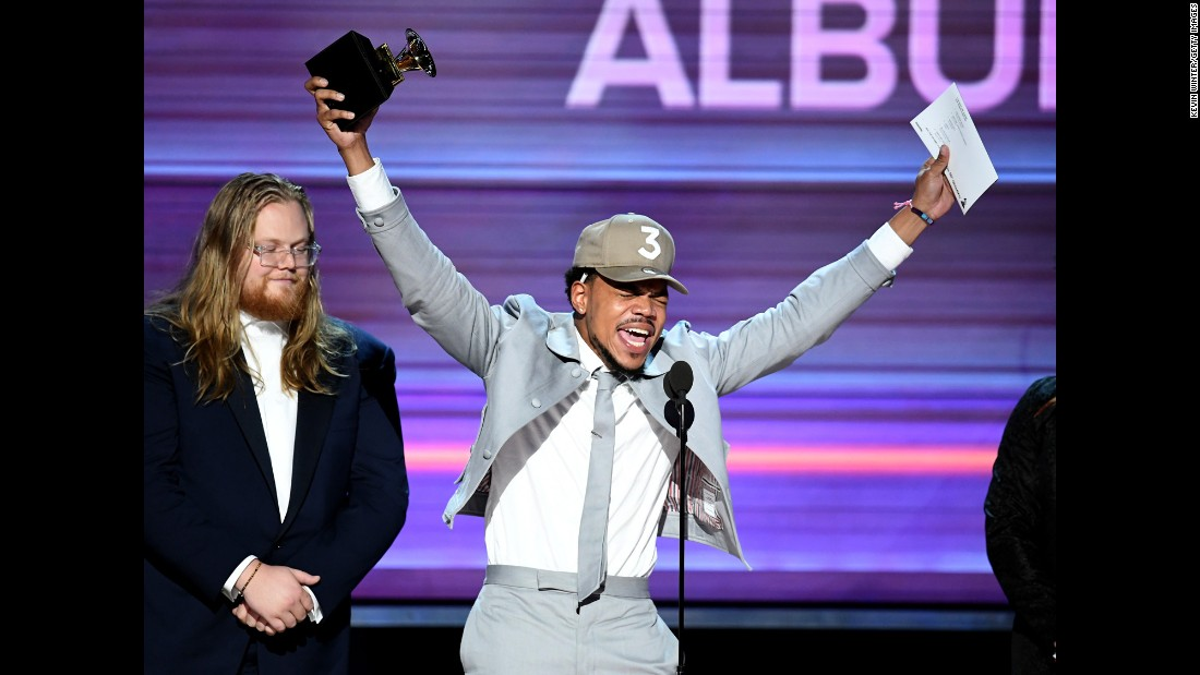 "Chance the Rapper accepts the Grammy Award for best rap album on Sunday, February 12, making history as the first artist with a streaming-only album to win a Grammy. He also won the Grammy for best new artist. <a href=""http://www.cnn.com/2017/02/12/entertainment/gallery/grammys-2017-winners/index.html"" target=""_blank"">See other major winners</a>"