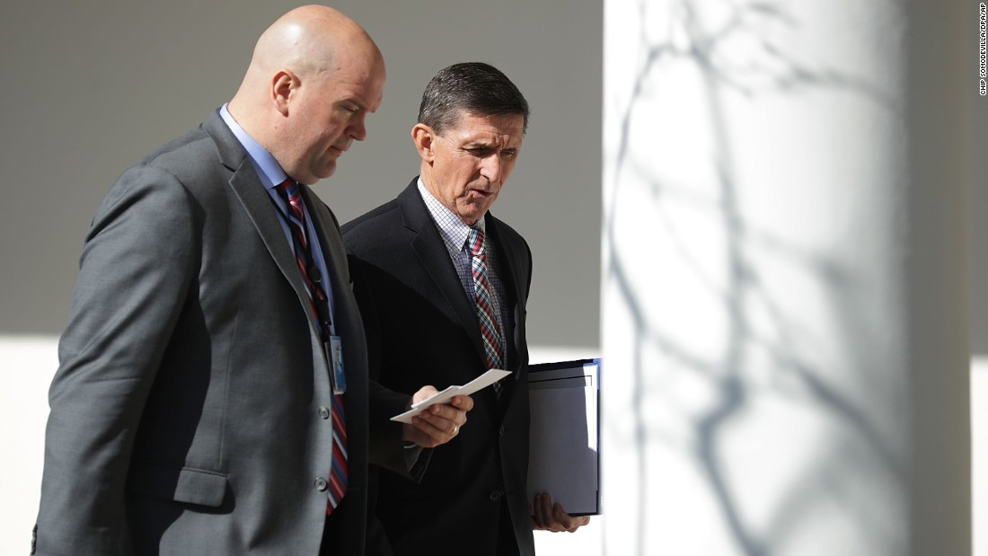 "White House National Security Adviser Michael Flynn, right, walks down the West Wing Colonnade after a bilateral meeting in Washington between US President Donald Trump and Japanese Prime Minister Shinzo Abe on Friday, February 10. Flynn <a href=""http://www.cnn.com/2017/02/13/politics/michael-flynn-white-house-national-security-adviser/"" target=""_blank"">resigned from his post</a> three days later. His departure came just after reports surfaced that the Justice Department <a href=""http://www.cnn.com/2017/02/13/politics/michael-flynn-justice-department-warning/index.html"" target=""_blank"">warned the Trump administration last month</a> that Flynn misled administration officials regarding his communications with the Russian ambassador to the United States and was potentially vulnerable to blackmail by the Russians."