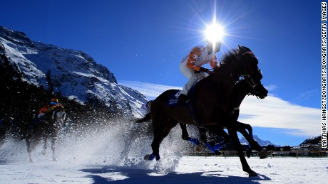ST MORITZ, SWITZERLAND - FEBRUARY 21:   Kieren Fox riding Berrahri competes during the Grosser Preis von St. Moritz Flat Race of the White Turf St Moritz on February 21, 2016 in St Moritz, Switzerland.  (Photo by Matthias Hangst/Bongarts/Getty Images)