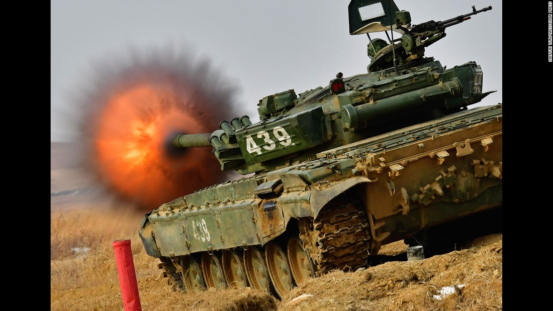 A tank competes in a tank biathlon in Russia's Primorye territory on Thursday, February 16.