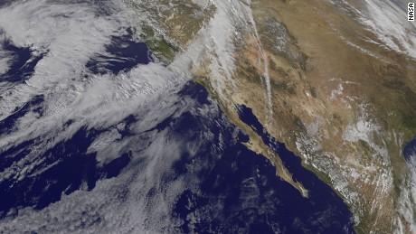 Weather satellite photo of Southern California and The Baja California Peninsula on February 16, 2017.