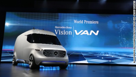 A new Mercedes-Benz Vision van, manufactured by Daimler AG, stands on display as it is unveiled in Stuttgart, Germany, on Wednesday, Sept. 7, 2016. Mercedes-Benz is looking at mounting automated flying drones onto a new line of electric vans as part of a 500 million-euro ($562 million) investment aimed at speeding delivery times for online orders. Photographer: Alex Kraus/Bloomberg via Getty Images