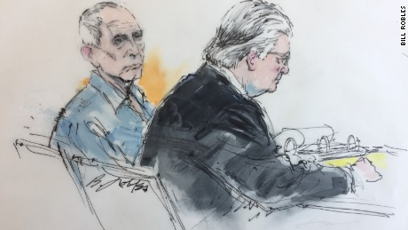 A  courtroom artist's sketch of Robert Durst, left, with his defense attorney.