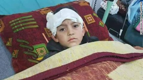 Abdel Basit Al-Satouf, 10, lost his mother and sister in the bombing, a monitoring group said.