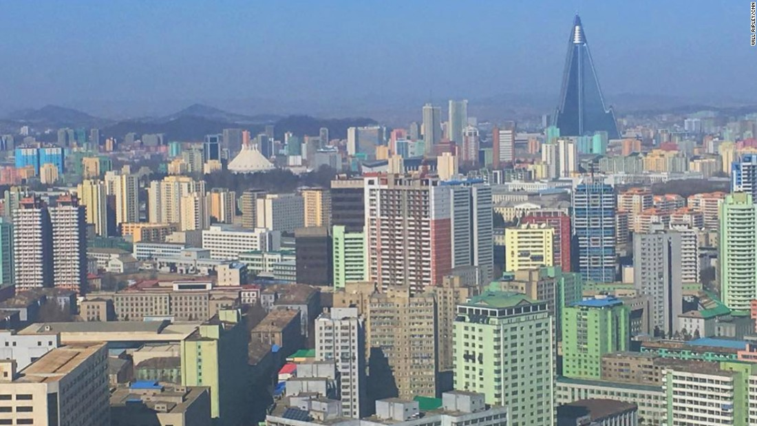 "Ripley posted this photo of the Pyongyang skyline on Friday, February 17. ""Note the 105-story pyramid skyscraper, the Ryugyong Hotel. Work began in 1987. Still unfinished,"" Ripley said <a href=""https://www.instagram.com/p/BQmQp1Zg-kI/"" target=""_blank"">in his Instagram post.</a>"