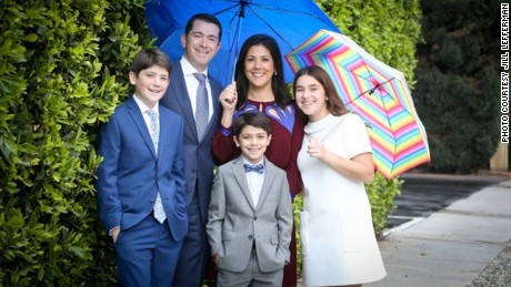 "Jill Lefferman, pictured with her family, is "" grateful to be alive and well at her son's bar mitzvah celebration."""