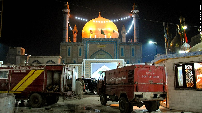 Pakistani soldiers cordon off Lal Shahbaz Qalandar shrine in Sehwan after Thursday's attack.