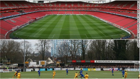 A comparison of the 5,013-capacity Gander Green Lane and Arsenal's 60,432-capacity Emirates Stadium.