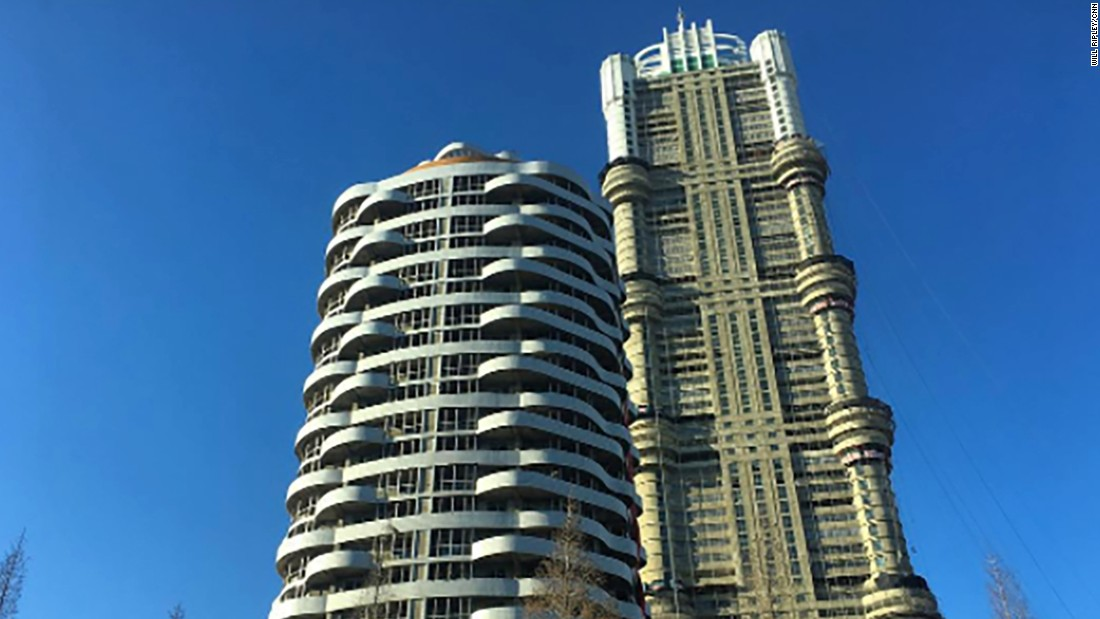A 70-story apartment building undergoes construction on February 17.