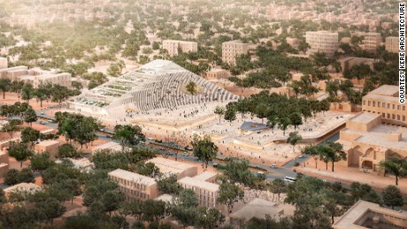 Digital render of plans for Burkina Faso's new House of Parliament.
