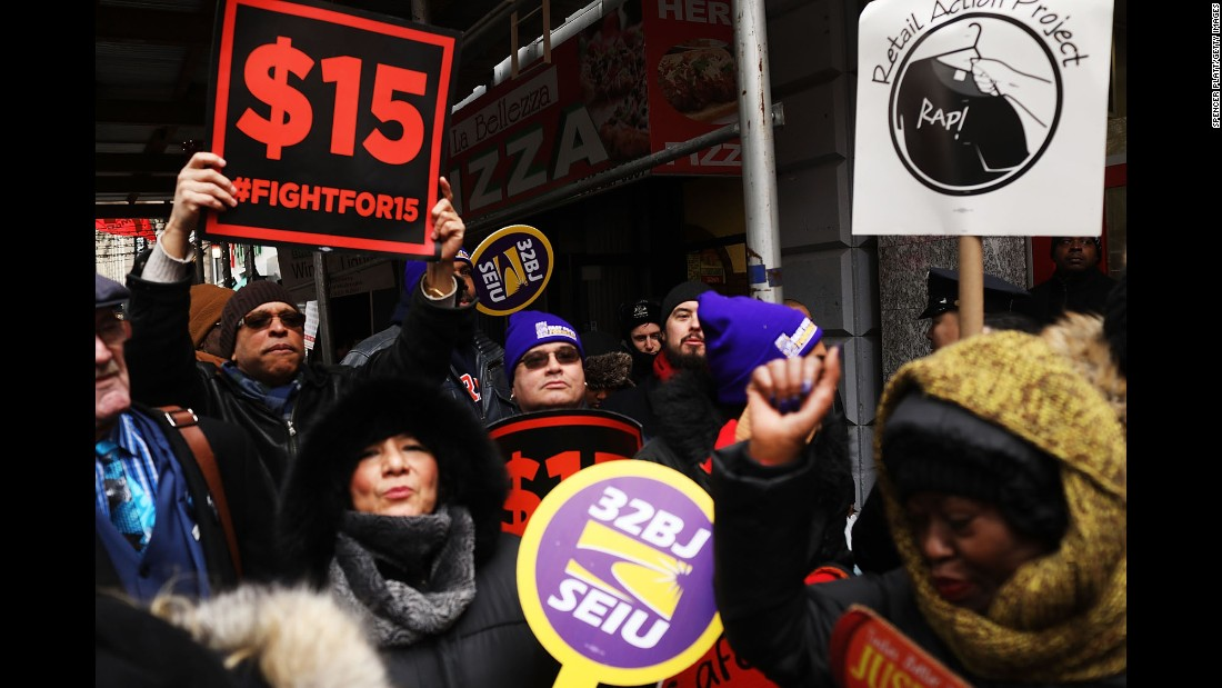 "Protesters in favor of a $15 minimum wage gather in New York to rally against Andrew Puzder, President Trump's nominee for labor secretary, on Monday, February 13. Puzder, the CEO of the company that owns the Hardee's and Carl's Jr. fast-food chains, <a href=""http://www.cnn.com/2017/02/15/politics/top-senate-republicans-urge-white-house-to-withdraw-puzder-nomination/"" target=""_blank"">withdrew his nomination</a> two days later. He had faced intense criticism since his appointment in December. Current and former employees spoke out against him, and Democrats and labor activists attacked his record on worker rights. Puzder has a long history of fighting against government regulation, a $15 minimum wage and the Affordable Care Act. He also admitted to having employed an undocumented immigrant as a housekeeper."