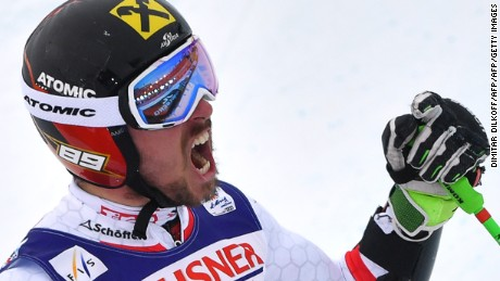 Austria's Marcel Hirscher reacts in the finish area after the second run of the men's giant slalom race at the 2017 FIS Alpine World Ski Championships in St Moritz on February 17, 2017. / AFP / Dimitar DILKOFF        (Photo credit should read DIMITAR DILKOFF/AFP/Getty Images)