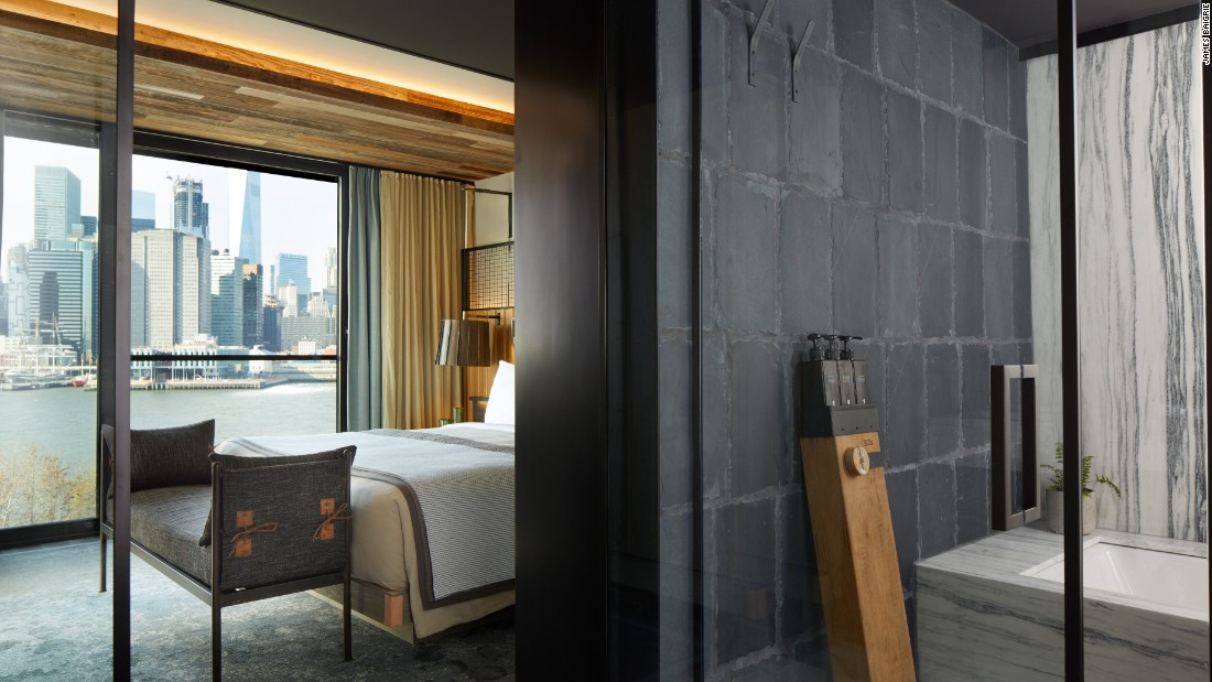 Many of the hotel's materials are local or reclaimed, including pine beams from the former Domino Sugar factory in nearby Williamsburg.