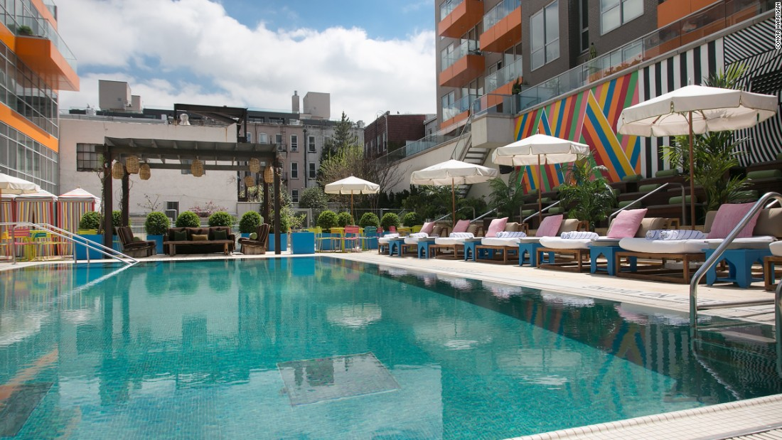 Brooklyn's trendy hotel scene attracts visitors from around the world. The McCarren Hotel & Pool boasts one of New York City's largest heated outdoor swimming pools.